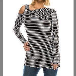 Black and White Cutout Long-sleeve Top - Large